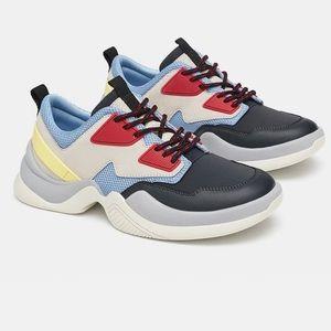Zara fashion sneakers multi color retro size 6.5